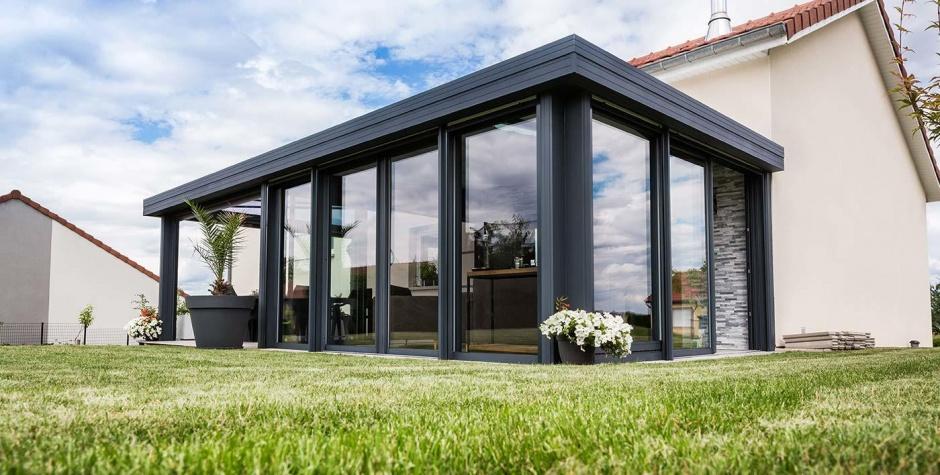 la veranda toit plat varialu menuiserie. Black Bedroom Furniture Sets. Home Design Ideas