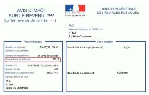 le revenu fiscal de référence sur l'avis d'impôts